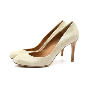 Ann Taylor Perfect Pump Taupe Cream Snake 8.5